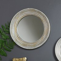 Large Antiqued Round Silver Wall Mirror - Melody Maison