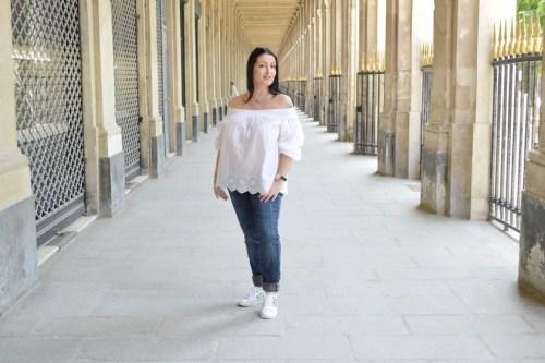 Blog mode melolimparfaite blouse blanche mango dentelle profil pied