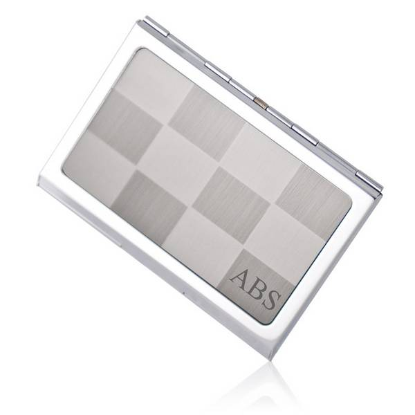 Personalized Silver Checkered Business Card Holder - card
