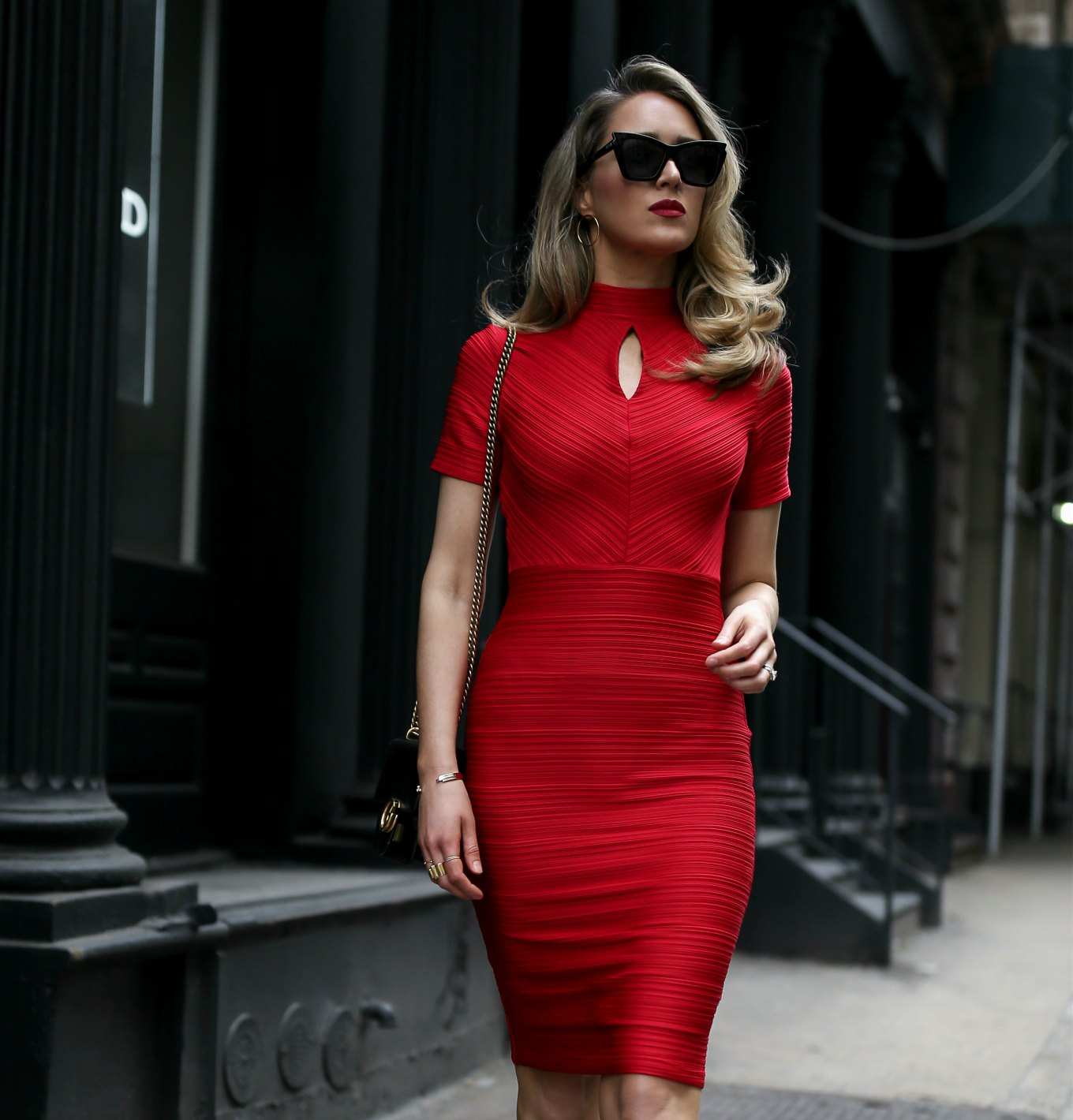 Classic Red Sheath Dress
