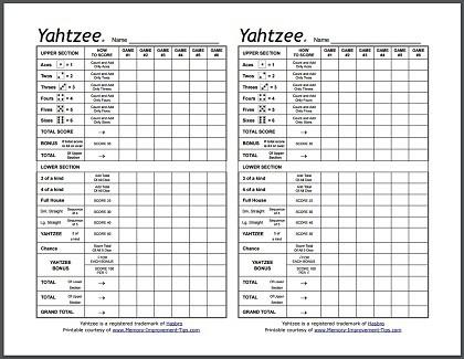 Free Yahtzee Score Sheets