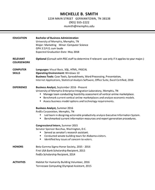 Résumé Template B - Professional Development Center - The University