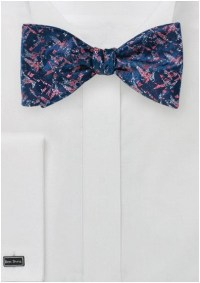 Self-Tie Designer Bow Tie in Navy and Coral Pink