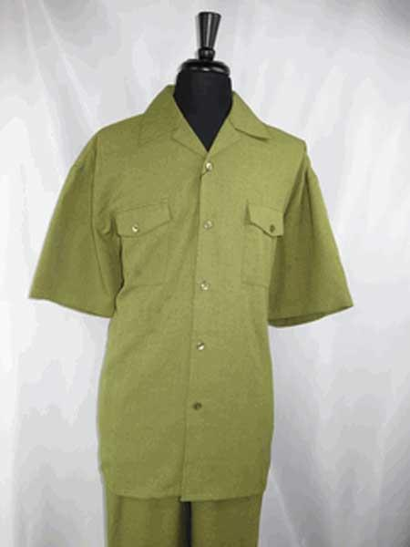 Olive Green outfits walking Suit 5 Button Shirt With Pant