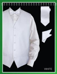 4 Piece Vest Combo (Bow Tie, Neck Tie, Hanky) - Jacquard White
