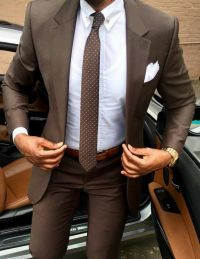 Dark brown men suit with white shirt and polka dot brown ...