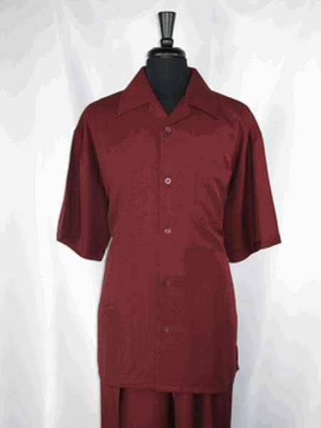 Burgundy 5 Buttons Single Short Sleeve Walking Shirt With