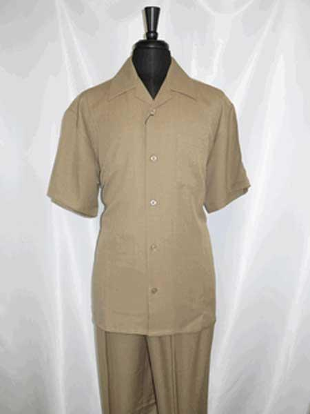 5 Buttons Single Breasted Short Sleeve Tan Walking Shirt