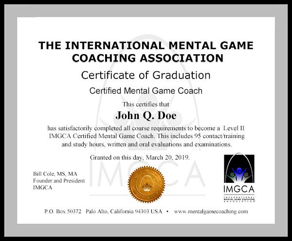 IMGCA Certification Training Graduation Certificate - graduation certificate