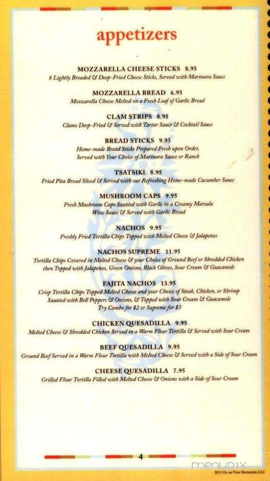 Online Menu of Ocean View Restaurante in Ketchikan, AK 99901