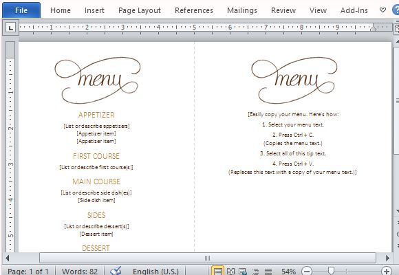 Menu Template Word - dinner party menu template