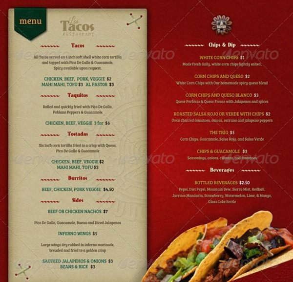 Restaurant Menu Template - food menu template