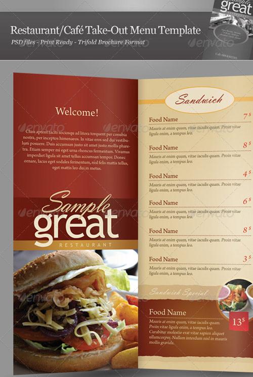 Restaurant Menu Template - a la carte menu template