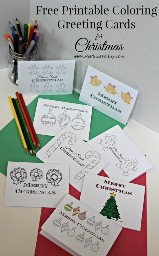 Christmas Coloring Pages - Free Printable Greeting Cards - Me Plus 3 - free printable christmas card maker