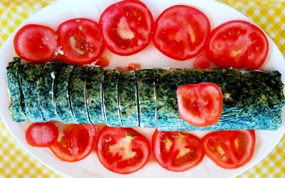 Brazo de espinacas y salmón