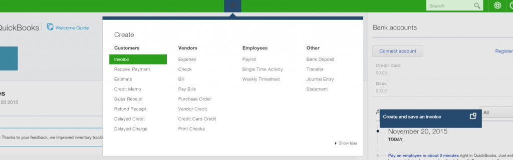 QuickBooks Online Create an Invoice