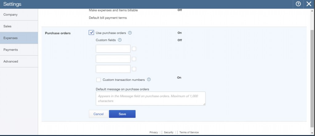 QuickBooks Online How To Turn On Purchase Orders