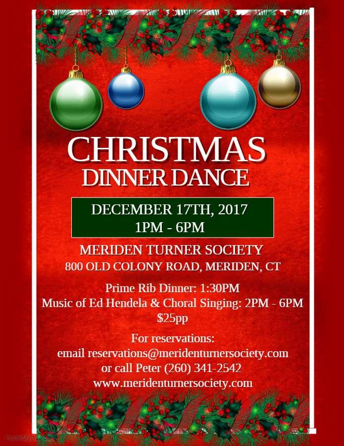Christmas Dinner Dance at the Meriden Turner Halle - christmas luncheon flyer