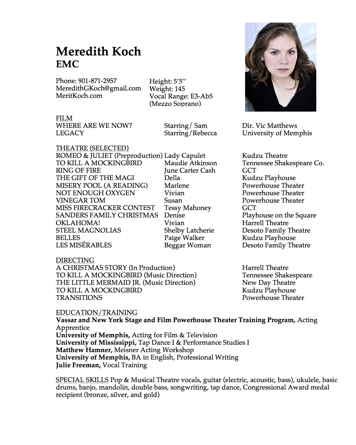 sample performance resume for a music major