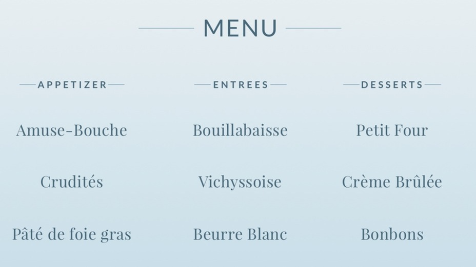 How to Read a French Menu (Video) Merriam-Webster - how to make a food menu on microsoft word