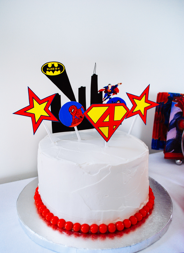 Easy super hero birthday cake with printable cake toppers