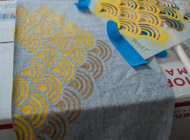 Stencil an Infinity Scarf Using Recycled T-Shirts - Merriment Design