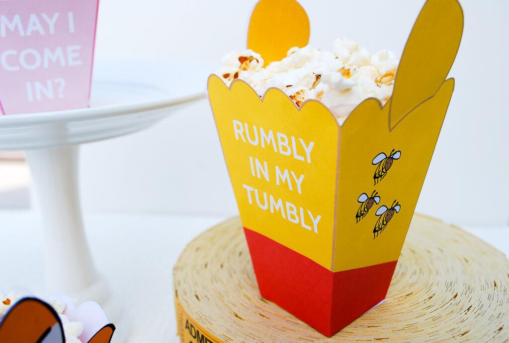 Winnie The Pooh Printable Mini Popcorn Box Template - Merriment Design