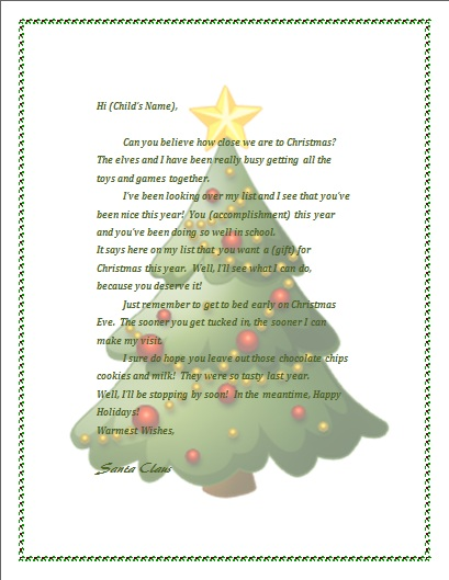 Printable letter from Santa - microsoft word christmas letter template