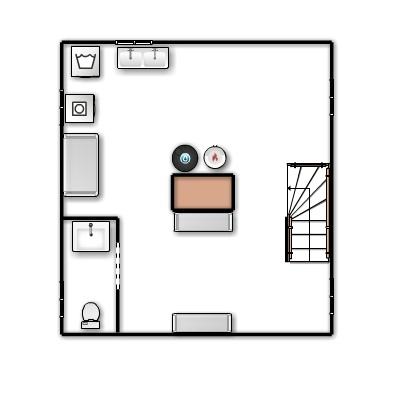 A floor plan of the basement.