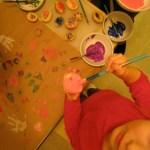 Potato painting. Action shot.