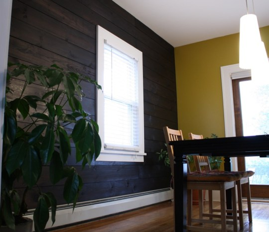 Dining room shiplap paneled wall. Love it.