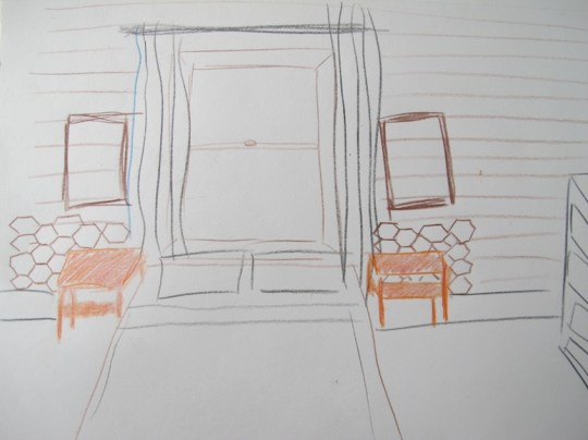 Etchy-sketchy: Future bedroom headboard panels.