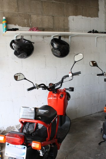 Scoot-scoot. Love my scooter, and love my old-new garage shelves.