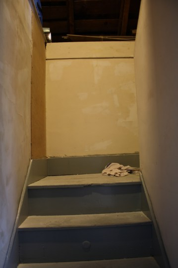 Sanded patches, and no more holes in the attic stairwell.