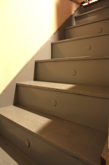Attic stairs. Lookin' good in gray!