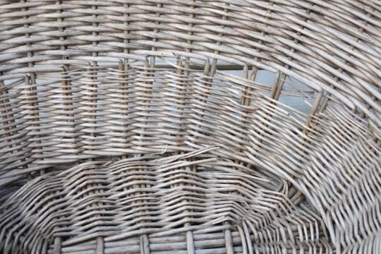 Freebie wicker basket, gettin' ready for its time to shine.