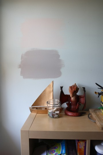 Paint tested beside the window.