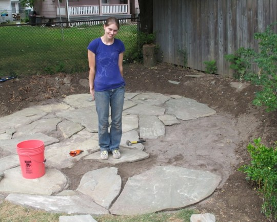 Building the flagstone patio!