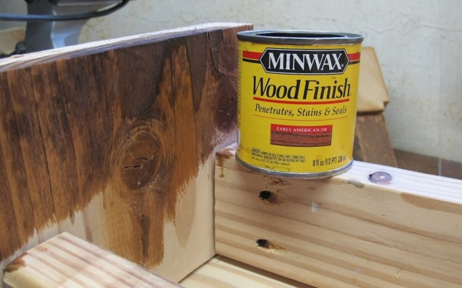 Minwax Early American stain. Looking good, a little yellowish.