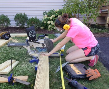 Cutting boards for the new stairs using the chop saw.