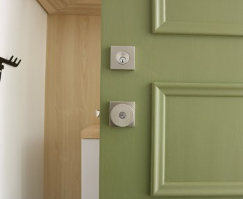 Our EMTEK lock and knob, contemporary design for our midcentury home.