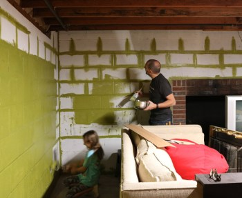 Painting the cinderblock Sherwin-Williams Verdant.