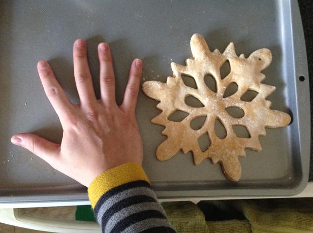 How to make a big salt dough snowflake ornament.