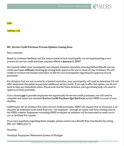 Letter Sent - Service Credit Purchase Process Updates Coming Soon