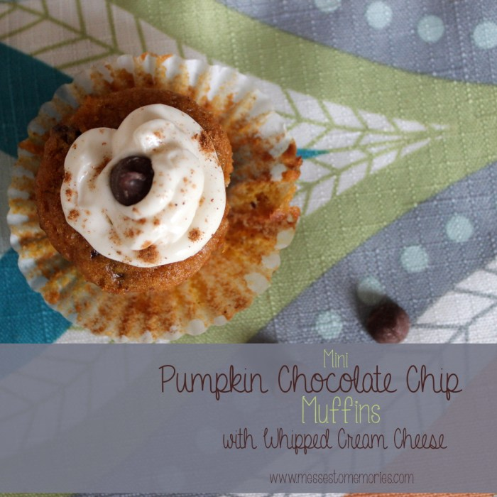 These little muffins are like little bites of heaven... Pumpkin Chocolate Chip Muffins from Messes to Memories