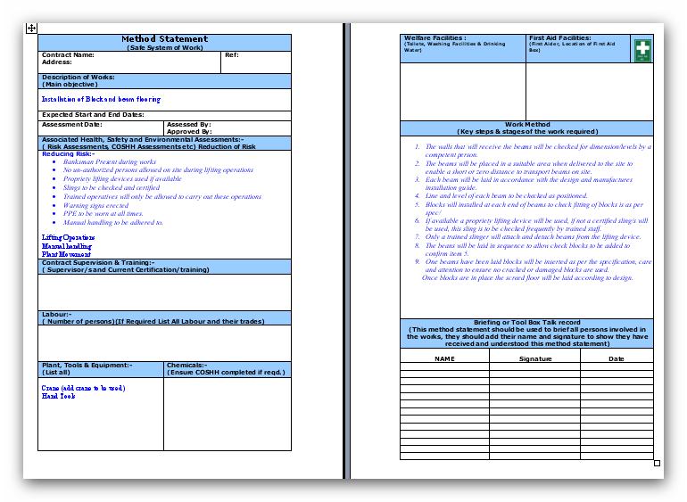 Doc905640 Safe Work Method Statements Templates Safe Work – Safe Work Method Statements Templates