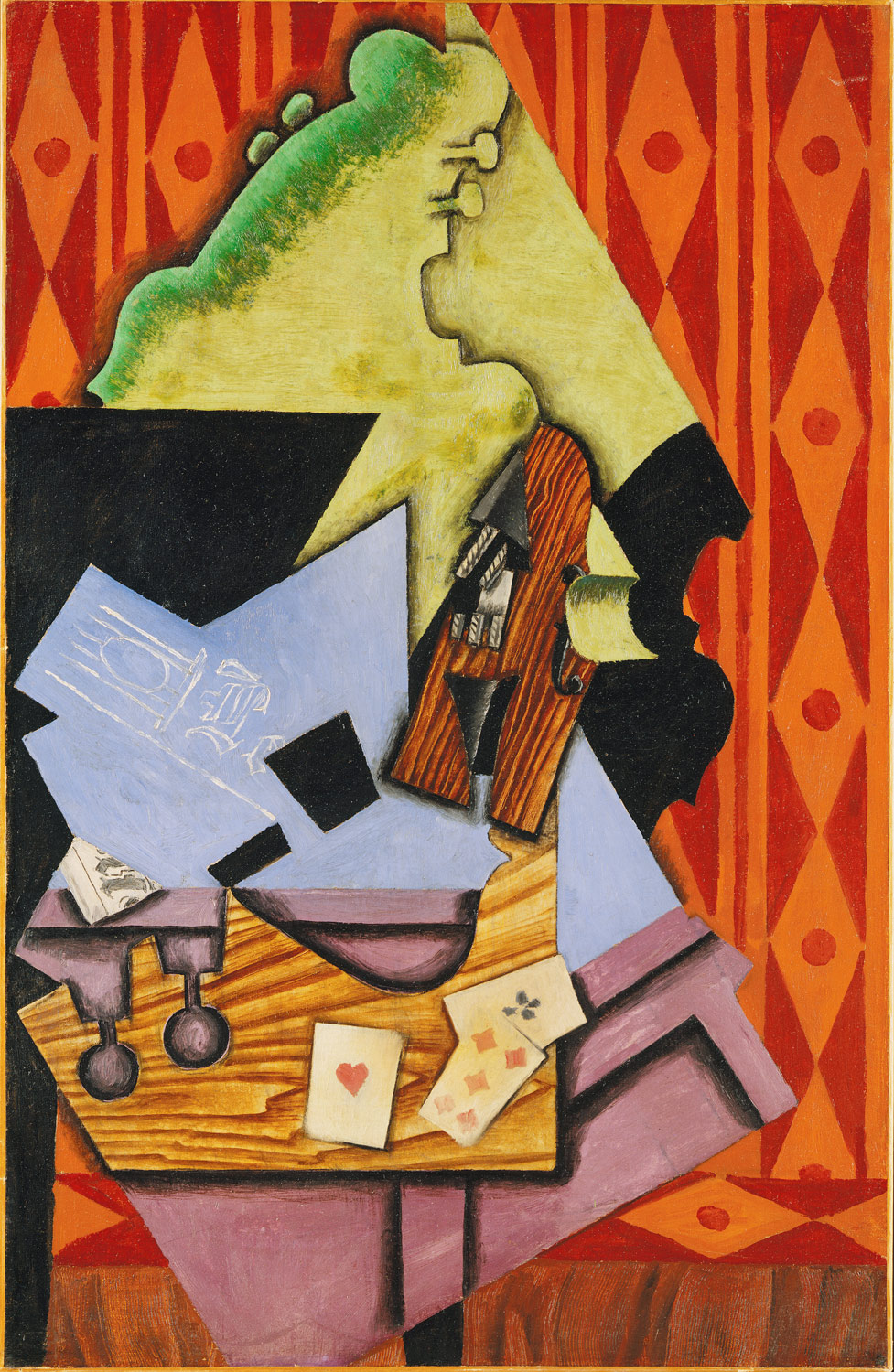 3d Wallpaper Futurist Violin And Playing Cards On A Table Juan Gris 1996 403