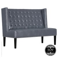 Halifax Grey Leather Banquette Bench | Tov Furniture ...