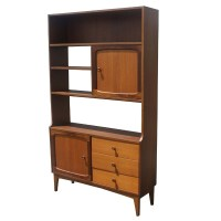 Vintage Walnut Bookcase Display Cabinet Room Divider | eBay