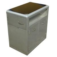 "28"" Vintage Industrial Metal Glass Cabinet"